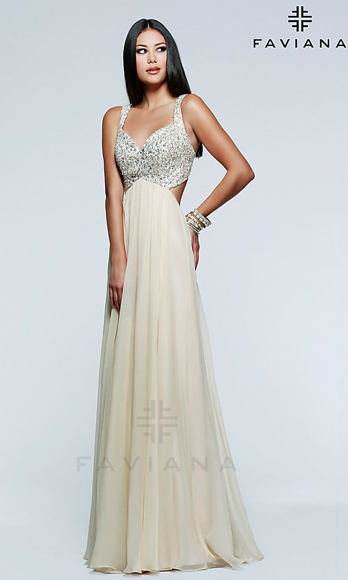 Image of Floor Length Sequined Open Back Dress Style: FA-7595 Front Image