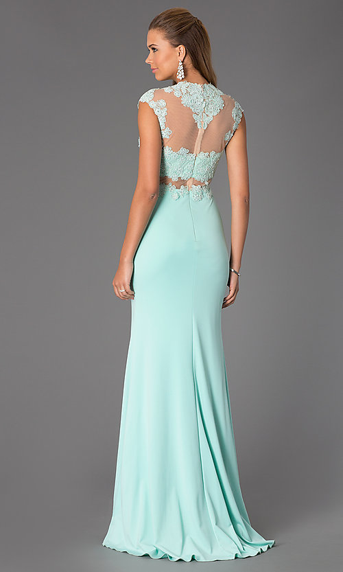 Image of High Neck Illusion and Lace Floor Length Dress Style: JO-JVN-JVN24404 Back Image
