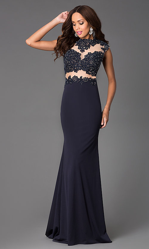 Image of High Neck Illusion and Lace Floor Length Dress Style: JO-JVN-JVN24404 Front Image