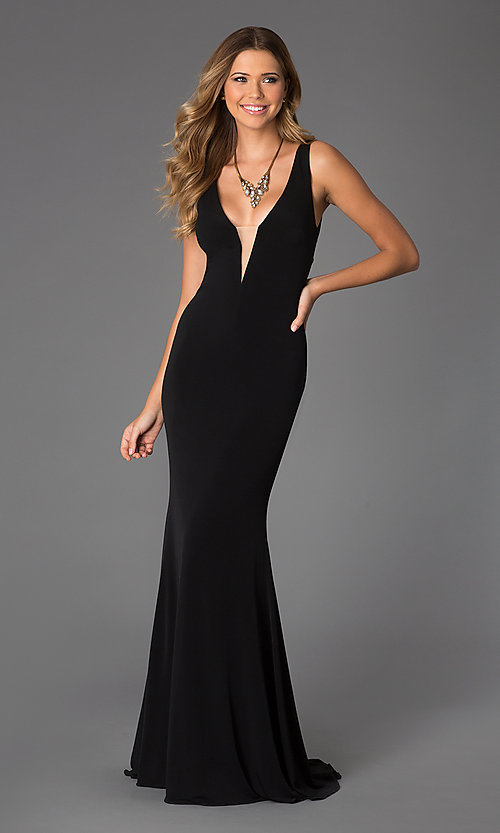 Sleeveless Low-Cut Long Black Gown with Sheer Back