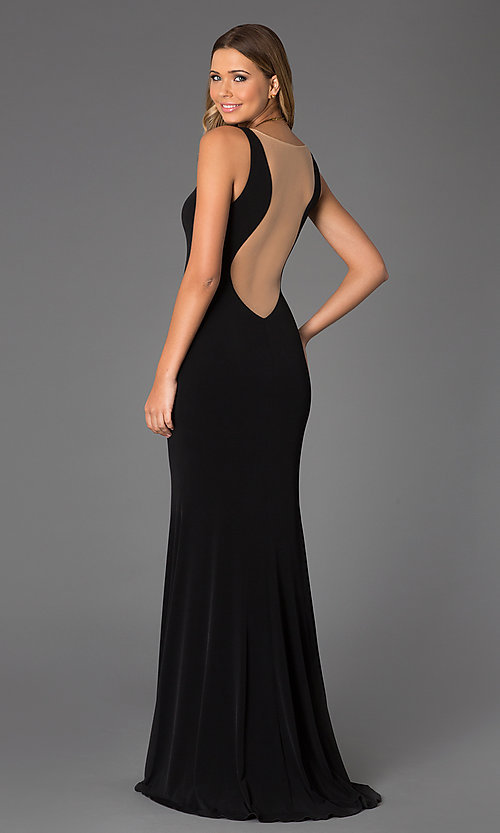37d1e3eae13c Image of sleeveless low-cut long black gown with sheer back. Style  JO