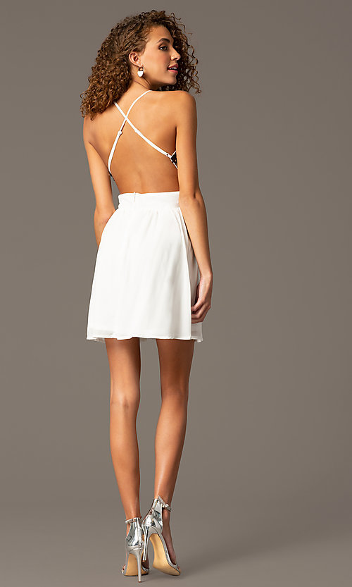 Image of sequin open back chiffon party dress Style: CCC-6S5735 Back Image