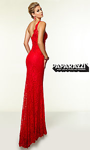 Image of One Shoulder Floor Length Lace Dress by Mori Lee 97112 Style: ML-97112 Back Image