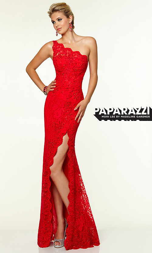 Image of One Shoulder Floor Length Lace Dress by Mori Lee 97112 Style: ML-97112 Front Image