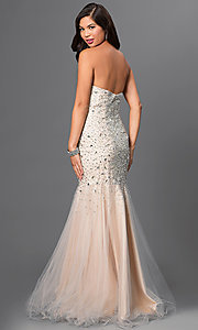 Image of Floor Length Sweetheart Jewel Embellished Prom Dress Style: TI-GL-DL113 Back Image