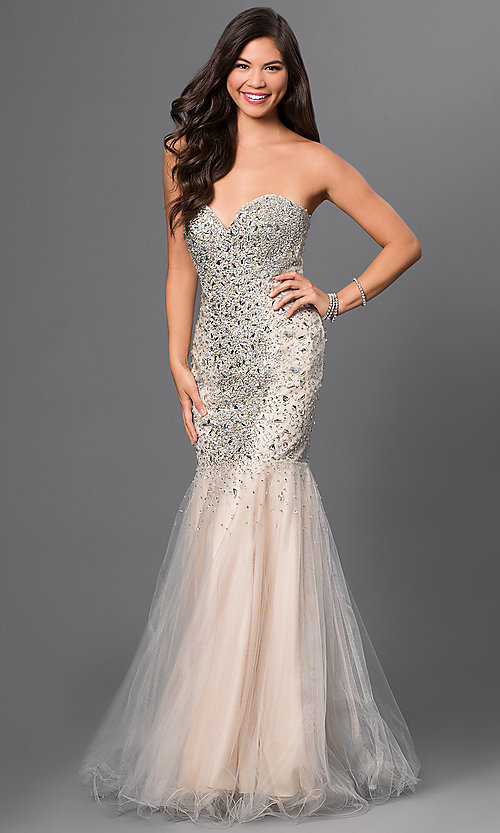Image of Floor Length Sweetheart Jewel Embellished Prom Dress Style: TI-GL-DL113 Front Image