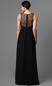 Image of long sheer lace sleeveless chiffon gown Style: LP-22297 Back Image