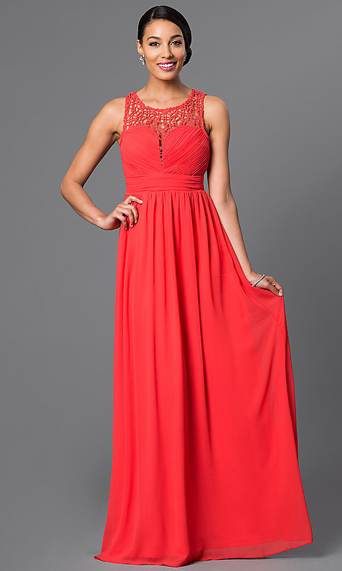 Image of long sheer lace sleeveless chiffon gown Style: LP-22297 Front Image
