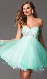 Image of Short Beaded Mint Green Strapless Party Dress Style: HOW-DA-52348 Front Image