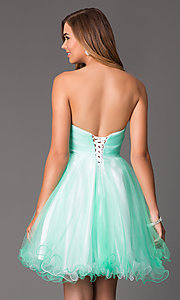Image of Short Beaded Mint Green Strapless Party Dress Style: HOW-DA-52348 Back Image
