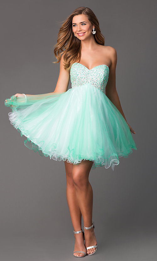 Image of Short Beaded Mint Green Strapless Party Dress Style: HOW-DA-52348 Detail Image 1