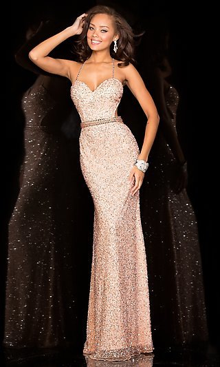 long sequin open back dress by scala