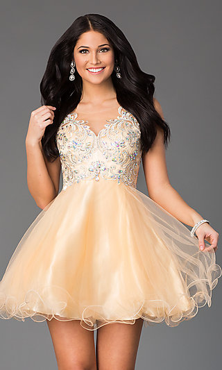 Gold Cocktail Short Gold Homecoming Dresses