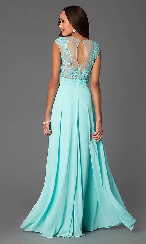 Floor Length Cap Sleeve Dress with Illusion Bodice