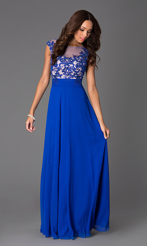 Image of Floor Length Cap Sleeve Dress with Illusion Bodice DQ-8822 Style: DQ-8822 Front Image