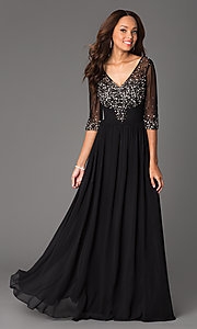 Image of long beaded V-neck formal gown with sheer sleeves Style: DQ-8855 Front Image