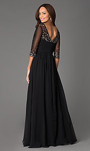 Image of long beaded V-neck formal gown with sheer sleeves Style: DQ-8855 Back Image
