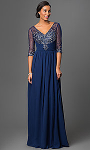 Image of long beaded V-neck formal gown with sheer sleeves Style: DQ-8855 Detail Image 2