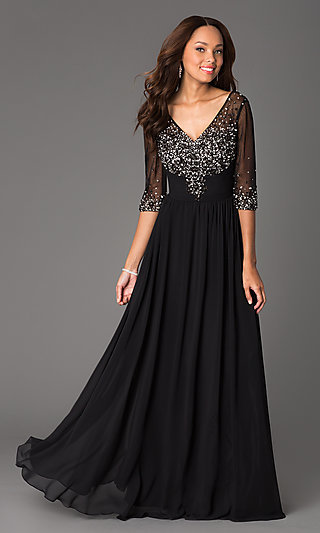Long Sheer Sleeve Beaded V-Neck Formal Gown
