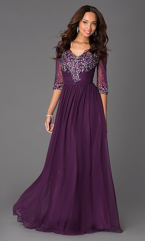 Image of long beaded V-neck formal gown with sheer sleeves Style: DQ-8855 Detail Image 1