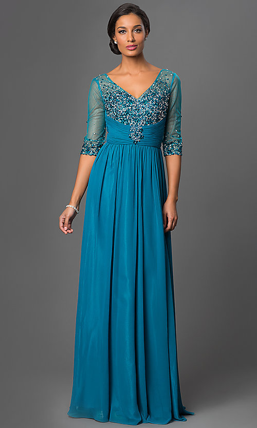 Image of long beaded V-neck formal gown with sheer sleeves Style: DQ-8855 Detail Image 3