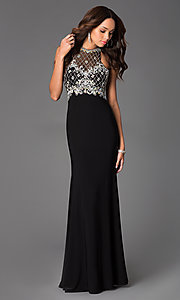 Image of sleeveless beaded illusion panel long formal dress Style: DQ-8878 Front Image