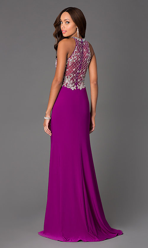 Image of sleeveless beaded illusion panel long formal dress Style: DQ-8878 Back Image