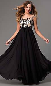 Image of long embroidered bodice chiffon prom dress Style: DQ-8882 Front Image