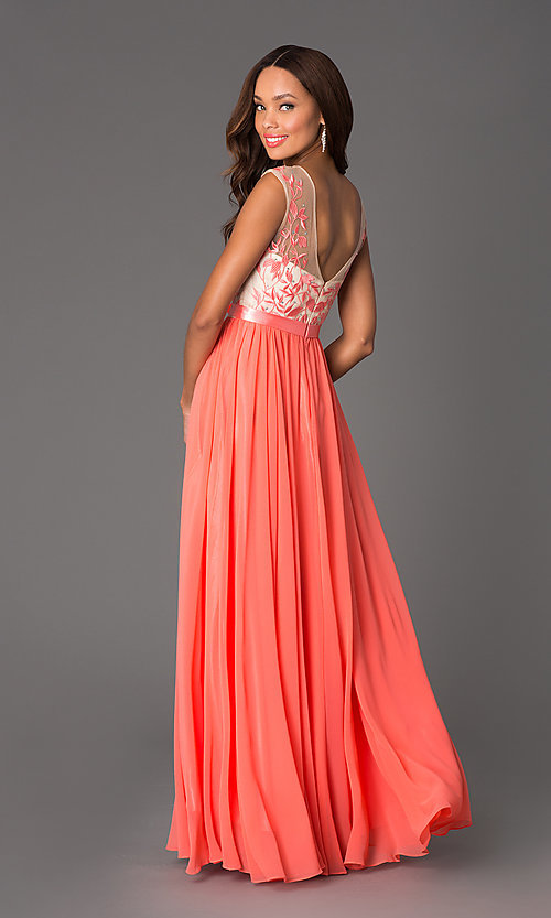 Image of long embroidered bodice chiffon prom dress Style: DQ-8882 Back Image