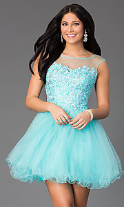 Image of sleeveless short prom dress with embellished lace. Style: DQ-8881 Front Image