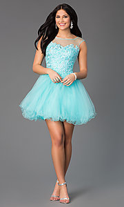 Image of sleeveless short prom dress with embellished lace. Style: DQ-8881 Detail Image 1