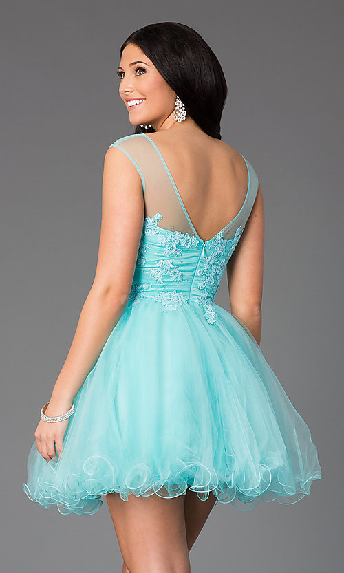 Image of sleeveless short prom dress with embellished lace. Style: DQ-8881 Back Image