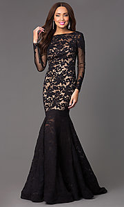 Image of Open Back Lace Mermaid Gown by Xtreme 32550 Style: XT-32550 Front Image
