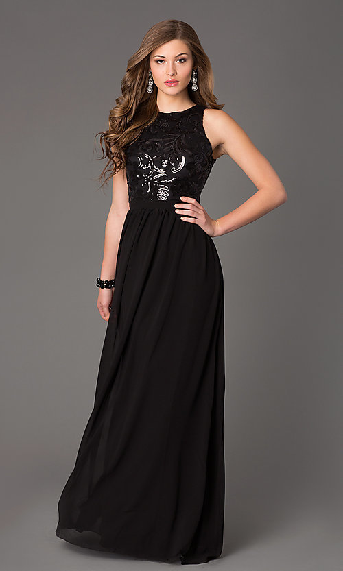 Image of Open Back Sequin Long Sleeveless Evening Dress Style: TW-4133 Detail Image 2