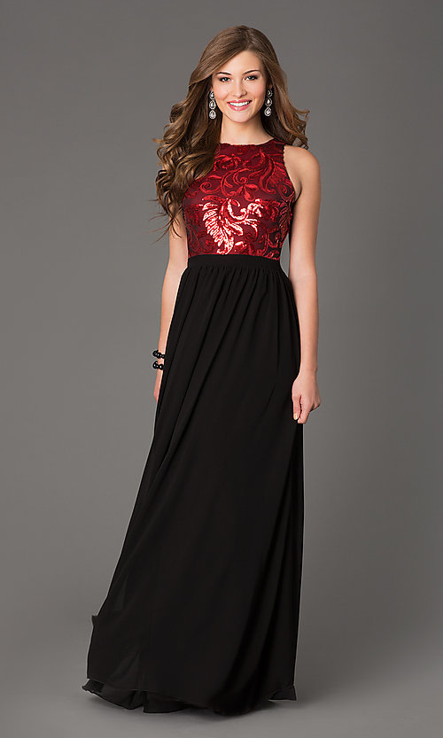 Image of Open Back Sequin Long Sleeveless Evening Dress Style: TW-4133 Front Image