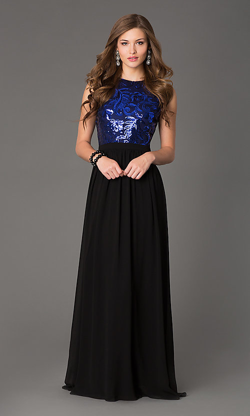 Image of Open Back Sequin Long Sleeveless Evening Dress Style: TW-4133 Detail Image 3