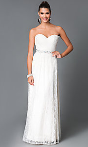 Image of floor-length strapless lace formal dress. Style: MF-E1796 Front Image