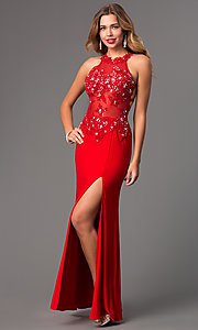 Image of Floor Length Prom Dress with Illusion Bodice DQ-8857 Style: DQ-8857 Detail Image 2