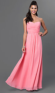 Image of long strapless sweetheart corset dress. Style: FB-GL2070 Detail Image 2