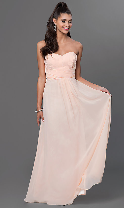 Image of long strapless sweetheart corset dress. Style: FB-GL2070 Detail Image 1