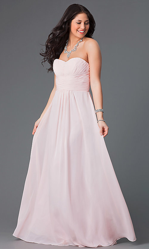 Image of long strapless sweetheart corset dress. Style: FB-GL2070 Front Image