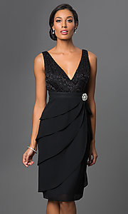 Image of knee-length V-neck dress with jacket Style: SF-8723 Detail Image 3