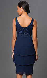 Image of knee-length V-neck dress with jacket Style: SF-8723 Back Image