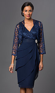 Image of knee-length V-neck dress with jacket Style: SF-8723 Detail Image 1