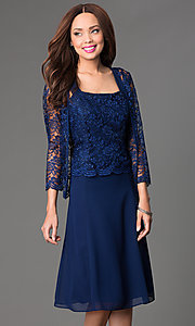 Image of knee-length lace dress with jacket Style: SF-8485 Front Image