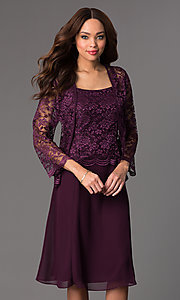 Image of knee-length lace dress with jacket Style: SF-8485 Detail Image 1