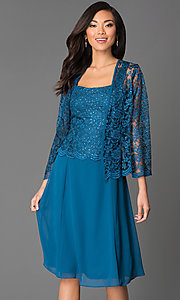 Image of knee-length lace dress with jacket Style: SF-8485 Detail Image 2
