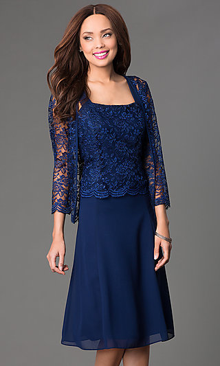 Knee-Length Dress with Lace Jacket