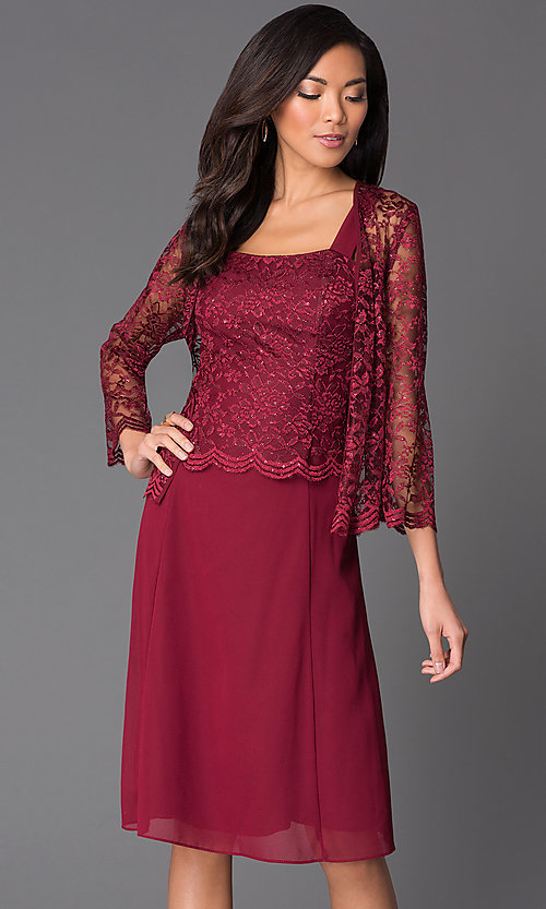 Image of knee-length lace dress with jacket Style: SF-8485 Detail Image 3