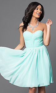 Image of Short Strapless Lace Up Sweetheart Dress Style: DQ-8951 Front Image